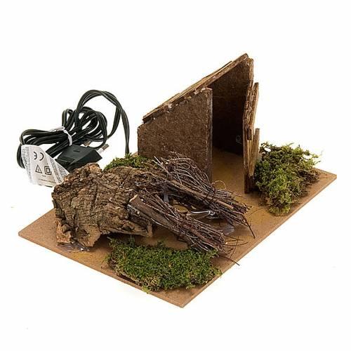 Feu pour crèche avec rameaux et cabane, 20x14x16 3