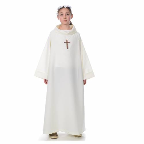 First communion alb, simple model, ivory s1