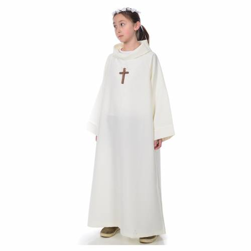 First communion alb, simple model, ivory s2