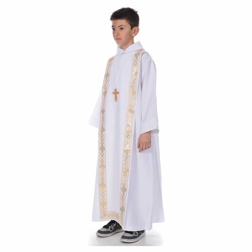 First Communion alb with golden hem for boy s2