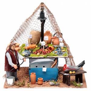 Neapolitan Nativity Scene: Fishmonger's stall with fountain and light Neapolitan Nativity 10cm