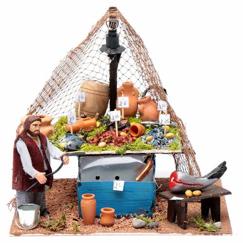 Fishmonger's stall with fountain and light Neapolitan Nativity 10cm s1