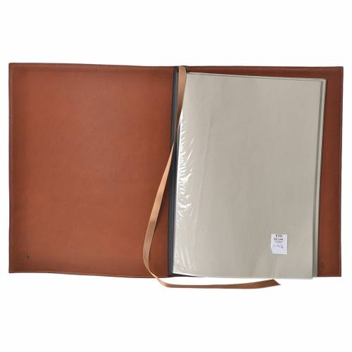 Folder for sacred rites in brown leather, hot pressed golden cross Bethleem, A4 size s3