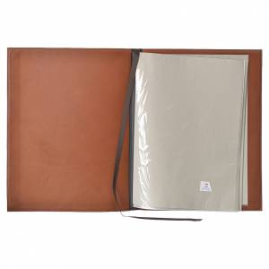 Folder for sacred rites in brown leather, hot pressed golden lamb Bethleem, A4 size s3