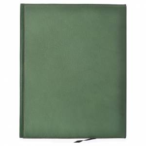 Folder for sacred rites in green leather, hot pressed golden lamb Bethleem, A4 size s2