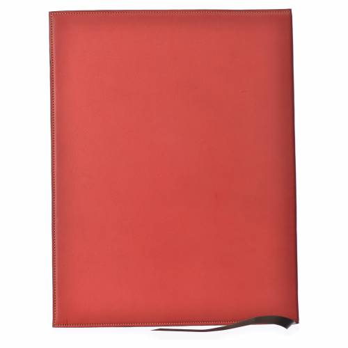 Folder for sacred rites in red leather, hot pressed cross Bethleem, A4 size s2