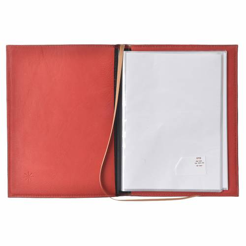 Folder for sacred rites in red leather, hot pressed golden lamb Bethleem, A5 size s3