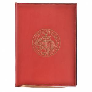 Folders sacred rites: Folder for sacred rites in red leather, hot pressed golden lamb Bethleem, A5 size