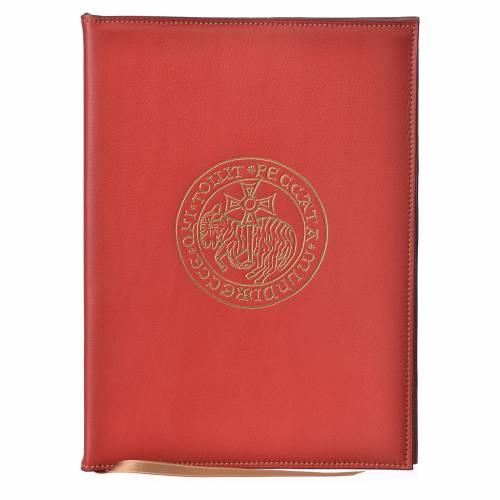 Folder for sacred rites in red leather, hot pressed golden lamb Bethleem, A5 size s1