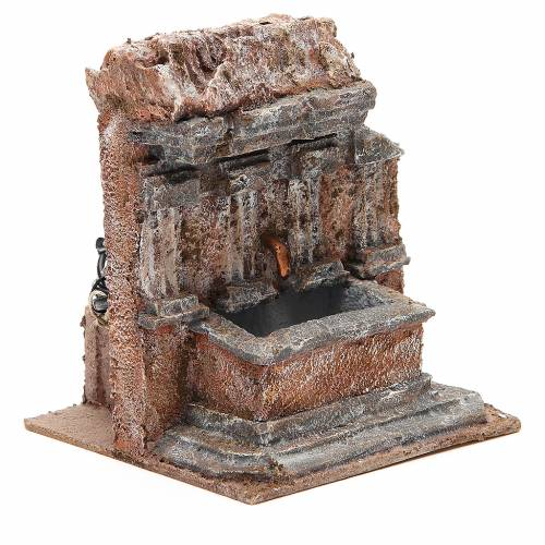 Fountain nativity carved in rock 18x16x16cm s3