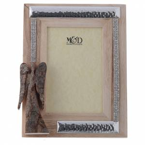 Bonbonnière: Frame with wood and silver in rhinestones with angel in bark 22x17cm
