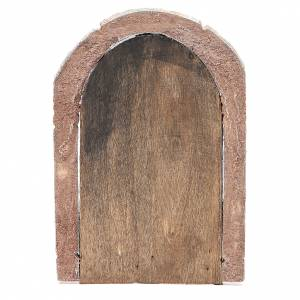 Front Door arched in wood for nativity 22x14cm s3
