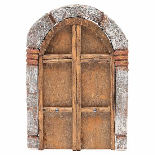Front Door arched in wood for nativity 22x14cm s1