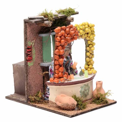 Fruit and veg seller animated figurine for Neapolitan Nativity, 10cm s3