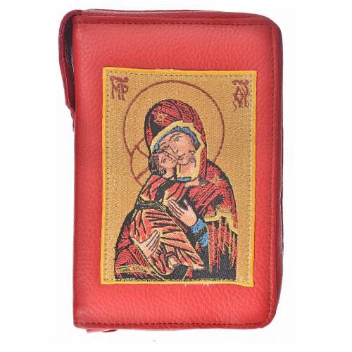 Funda Biblia Jerusalén Nueva Ed. burdeos piel Virgen Niño s1