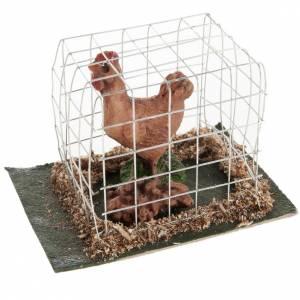 Animales para el pesebre: Gallina marrón en jaula belén