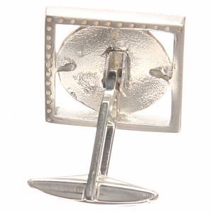 Gemelos joyas plata 800 rodiada Papa Francisco 1,8x1,8 cm s2