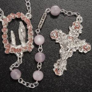 Ghirelli outlet rosary beads: Ghirelli pink rosary Lourdes Grotto, gilded 6mm