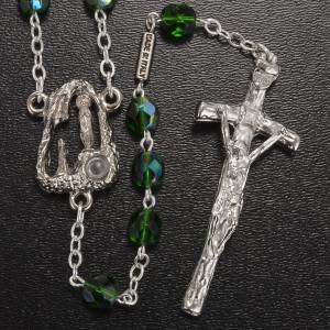 Ghirelli outlet rosary beads: Ghirelli rosary Lourdes Grotto, 7mm green round beads