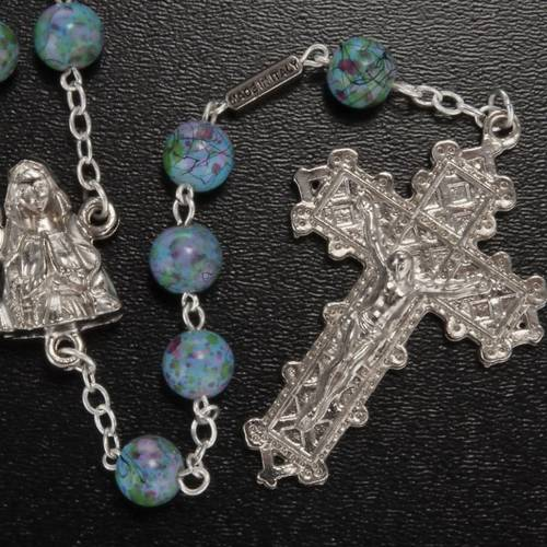 Ghirelli rosary, Our Lady of Lourdes green pattern 6mm s2