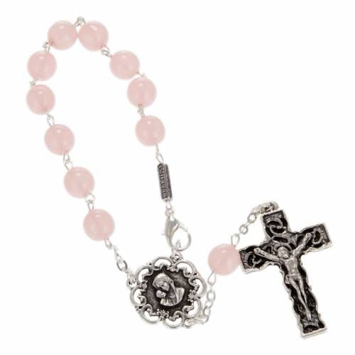 Ghirelli single-decade rosary, pink glass with Our Lady and baby s1
