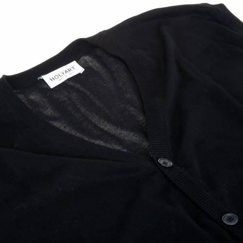 Gilet ouvert avec poches, noir 100% coton s3
