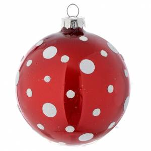 Christmas balls: Glass bauble, red with white glitter, 80mm diameter