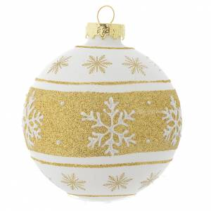 Christmas balls: Glass Christmas bauble, white with gold glitter, 80mm diameter