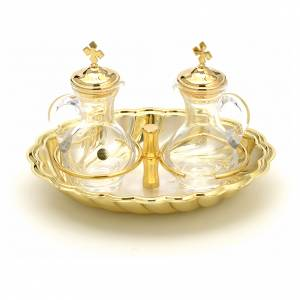 Glass cruet set with silver and gold-plated brass tray s1