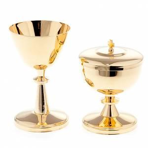 Metal Chalices Ciborium Patens: Gold-plated brass chalice and ciborium