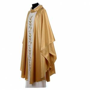 Golden chasuble in pure wool and lurex with wheat embroidery s2