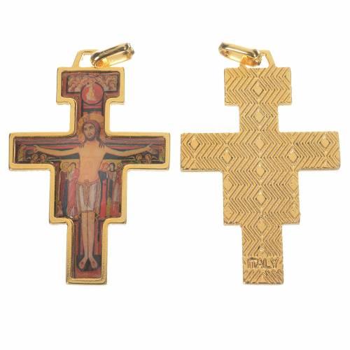 Golden Saint Damien cross with image s1