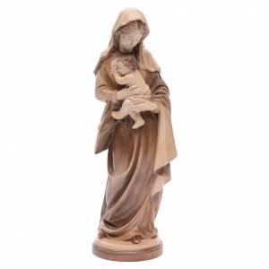 Statuen aus Naturholz: Gottesmutter mit Christkind Grödnertal Holz patiniert