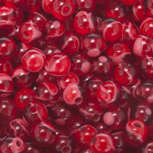 Grains chapelet à faire soi-même imitation soie rouge ronds 5m s2