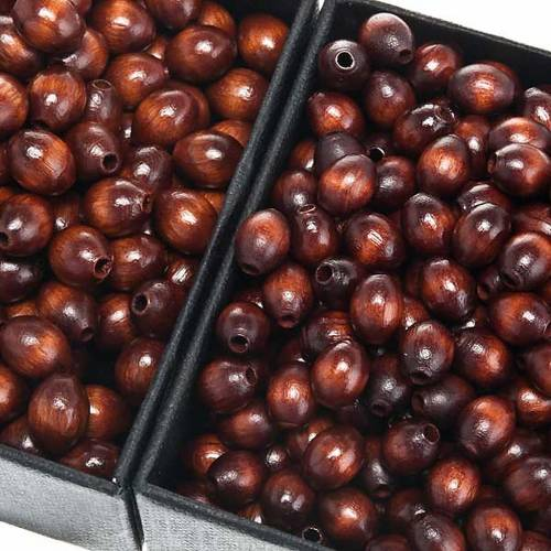 Grains chapelet simili coco marron ovales s1