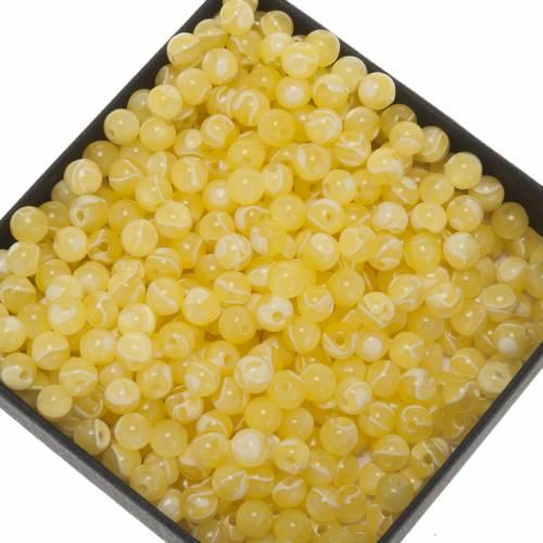 Grani rosari fai da te imitazione seta giallo 5 mm s1
