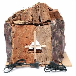 Grotta presepe Napoli illuminata e eff. Fuoco 35x40x22 cm s4