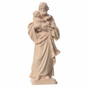 Natural wood statues and figures: Guido Reni's Saint Joseph in natural Valgardena wood
