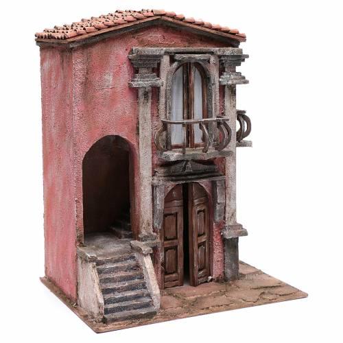 Haus für Krippe mit Treppe und Balkon 45x35x25cm s3