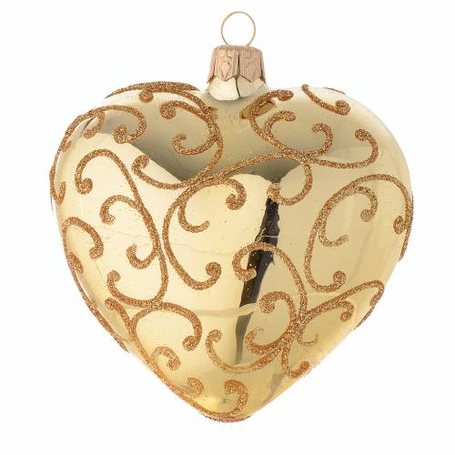 Heart Shaped Bauble in gold blown glass with golden motif 100mm s2