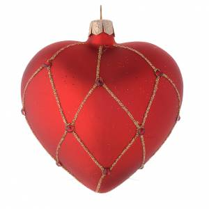 Heart Shaped Bauble in red blown glass with glitter and stones 100mm s2