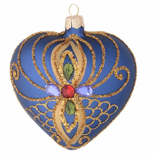 Heart Shaped Christmas bauble in blue glass with gold decorations 100mm s1