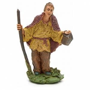 Krippenfiguren: Hirte mit Spazierstock und Lampe 8 Zentimeter