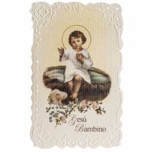 Holy card, Baby Jesus with prayer s1