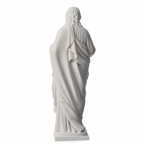 Holy Heart of Jesus in Reconstituted Carrara Marble, 50 cm s4