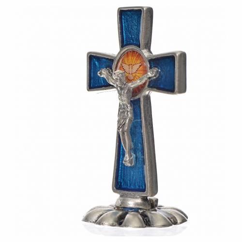 Holy Spirit cross, in zamak and blue enamel 5.2x3.5cm s2