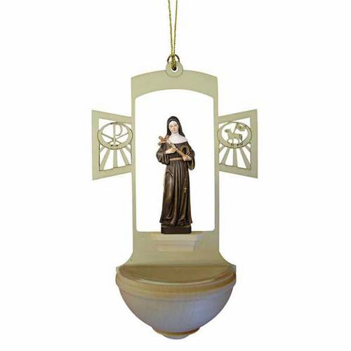 Holy Water font in carved wood, Saint Rita s1