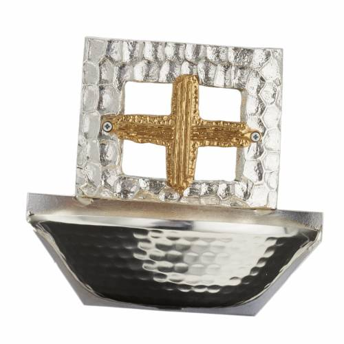 Holy water font square cross s5