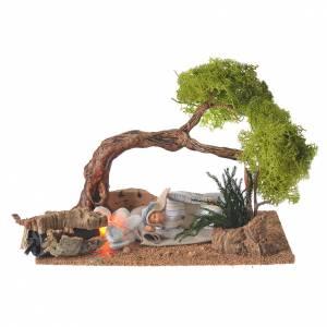 Maisons, milieux, ateliers, puits: Homme arabe endormi avec feu et chêne 10 cm