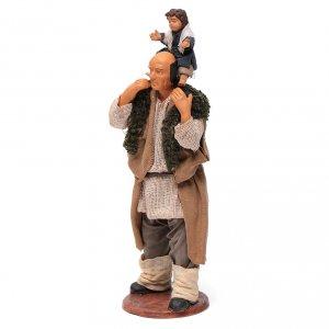 Homme avec enfant sur les épaules crèche 14 cm s6